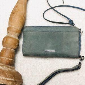 Rebecca Minkoff dusty blue suede & leather wallet
